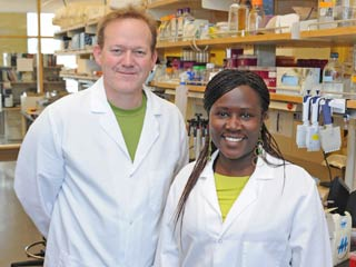 Sylvia Omulo and Doug Call in the laboratory