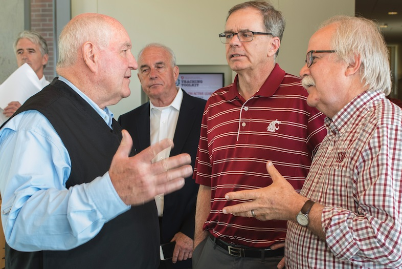 WSU-CVM Dean Dr. Brian Slinker (right) chats with Secretary Perdue (left).