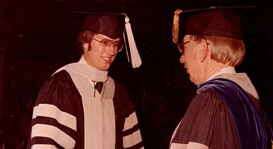 Brian Hunter receiving degree in 1979