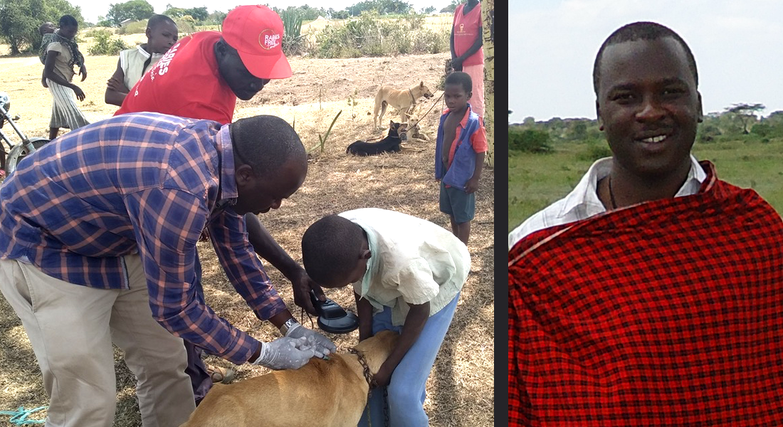 Dr. Ahmed Lugelo, a doctoral candidate in the Paul G. Allen School for Global Animal Health, vaccinates a dog in Tanzia for rabies as part of the Rabies Free Africa project.